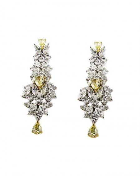 18K Pink & White Gold Earrings, White & Yellow Diamonds
