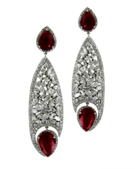 18K White Gold Earrings, Diamonds & Rubies
