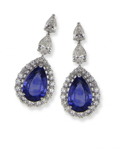18K White Gold Earrings, Sapphire & Diamonds