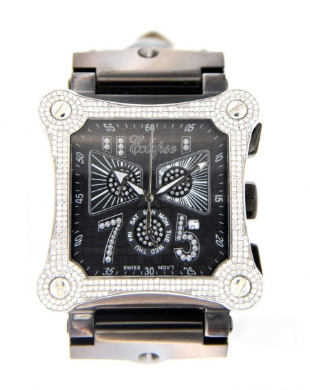 White Stainless Steel Watch, Diamonds