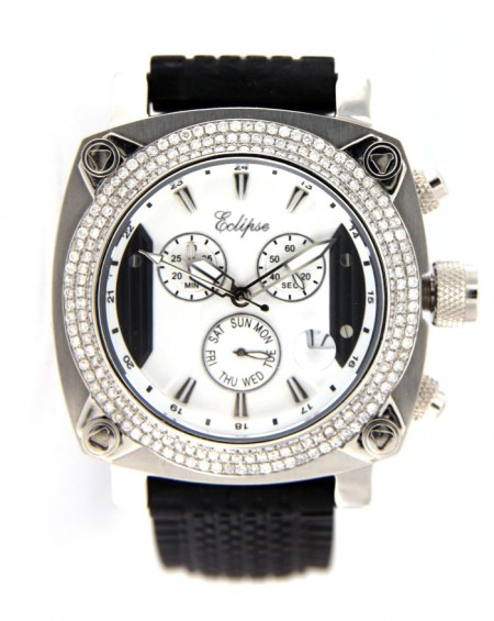 Black Stainless Steel Watch, Diamonds