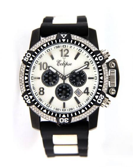 Black & White Stainless Steel Watch, Diamonds