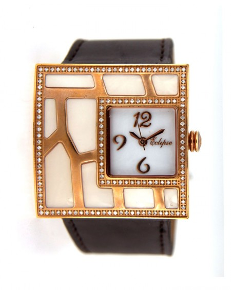Pink Stainless Steel Watch, Diamonds