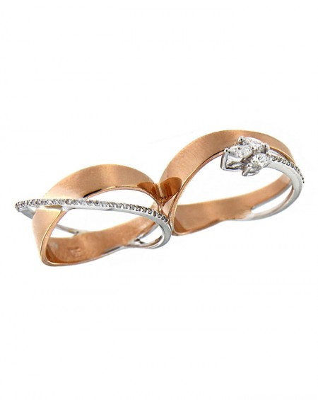 18K Pink & White Gold Double Ring, Diamonds