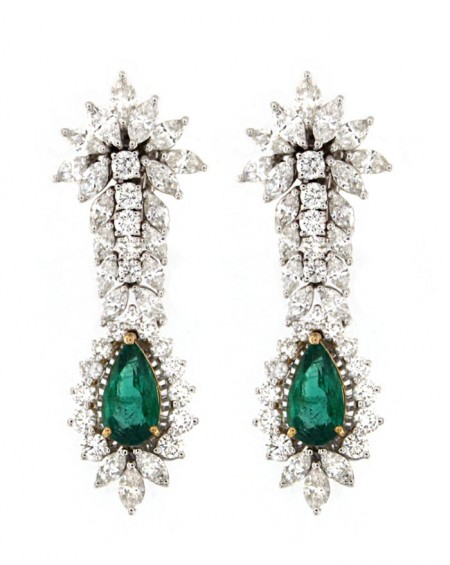 18K White & Yellow Gold Earrings, Emerald & Diamonds
