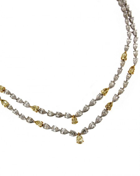 18K Pink & White Gold Necklace, White & Yellow Diamonds
