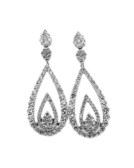 18K White Gold Earrings, Diamonds