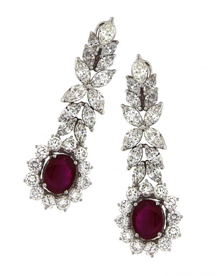 18K White Gold Earrings, Rubies & Diamonds