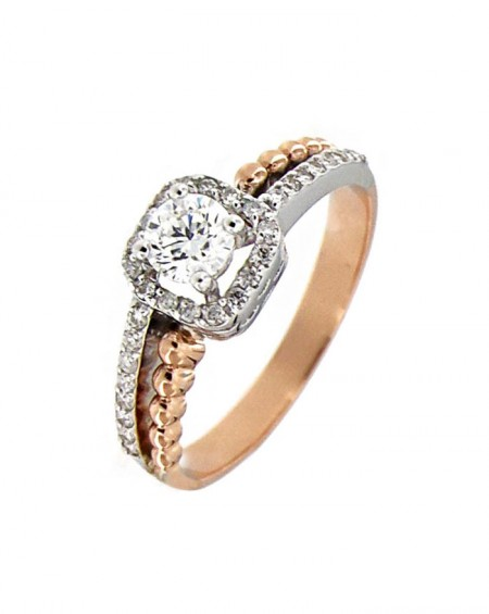 18K Pink & White Gold Solitaire,  Diamonds